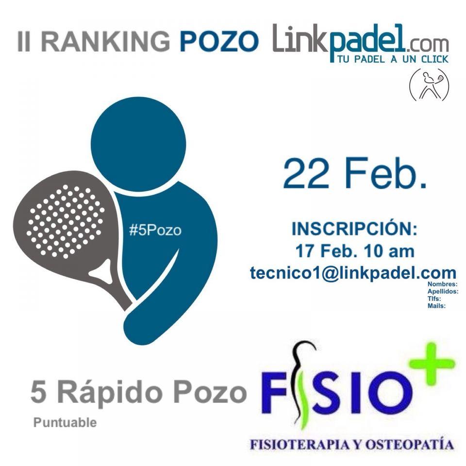 Buenos días.<br />Os informo que se va a celebrar éste Torneo Rápido en Lardero.<br />http://www.linkpadel.com/index.php/torneos/207-5pozo-fisio-del-ii-ranking-pozo-linkpadelcom<br />Estáis todos invitados.<br />Gracias.<br />Saludos