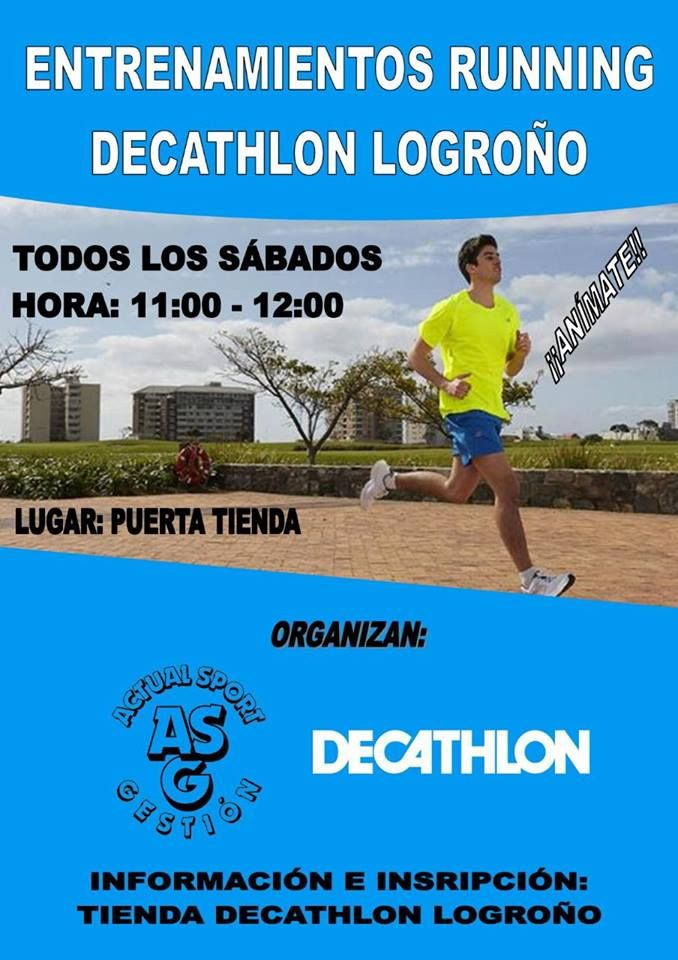 Todos los sábados haran un grupo para salir a correr desde Decathlon Logroño!! Será de 11.00 a 12.00. Es totalmente gratuito y lo hacen con un entrenador personal. Iran modificando la intensidad del entrenamiento en función de los objetivos que nos queramos marcar!
